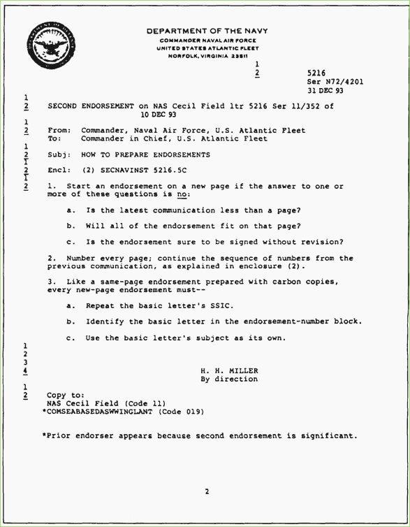 Standard Naval Letter format Elegant Navy Endorsement Letter format – thepizzashop