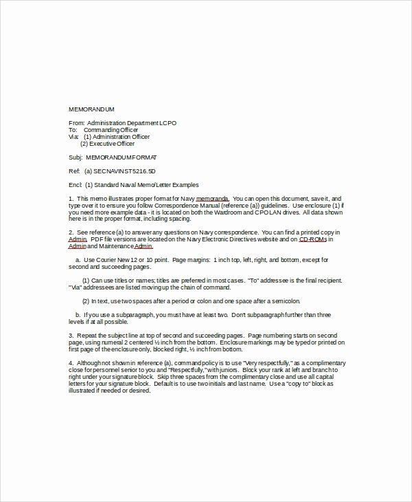 Standard Naval Letter format Elegant Sample Standard Memo Template 6 Free Documents Download