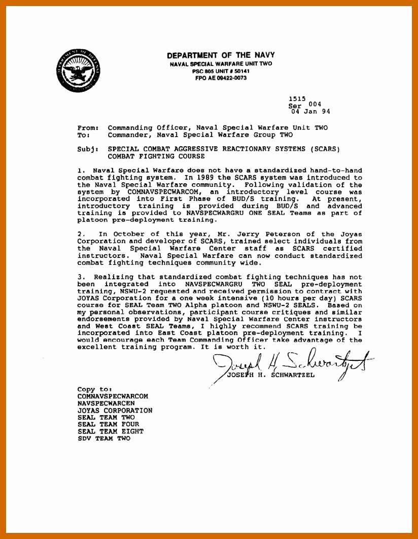 Standard Naval Letter format Fresh 8 9 Military Letter formats