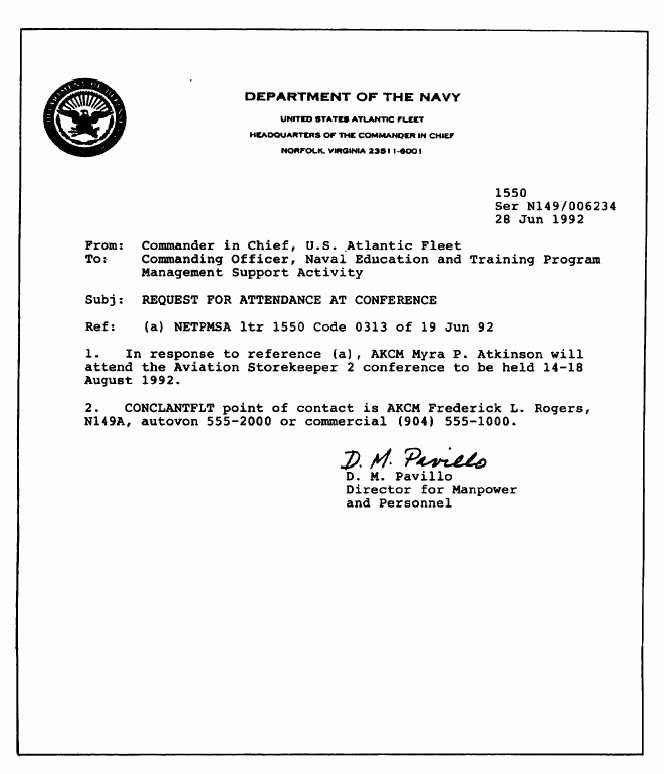 Standard Naval Letter format Fresh Best S Of Example Standard Letter format