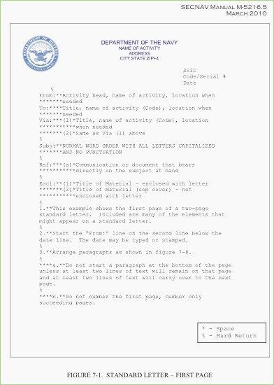 Standard Naval Letter format Lovely Naval Letter format Template – thepizzashop