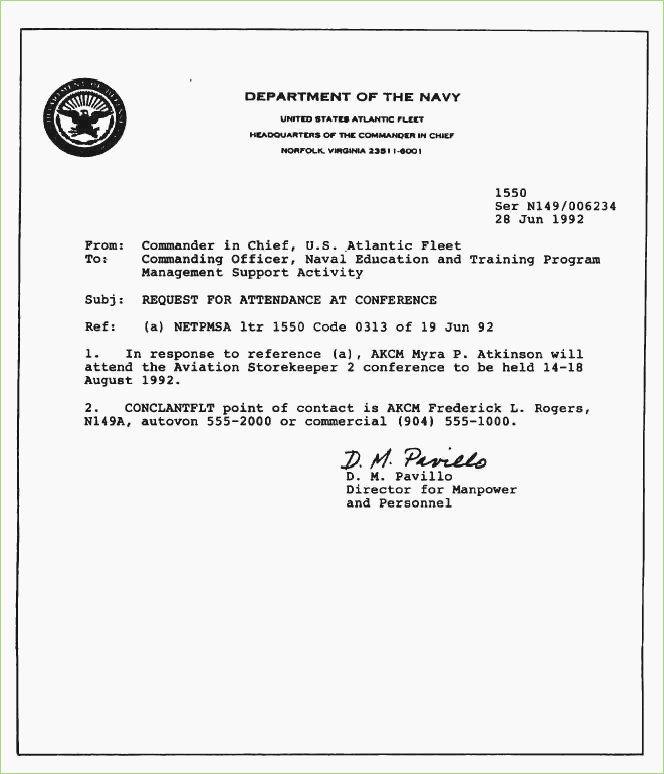 Standard Naval Letter format Template Elegant Naval Letter format – thepizzashop