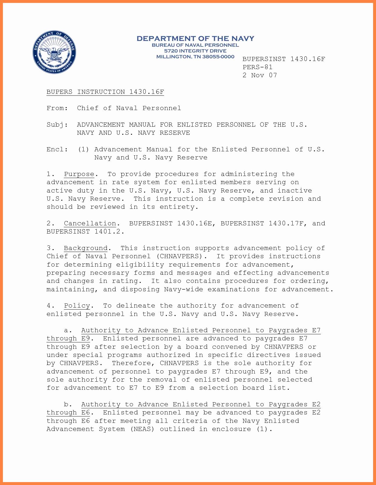 Standard Naval Letter format Template Lovely 7 Navy Letterhead Template