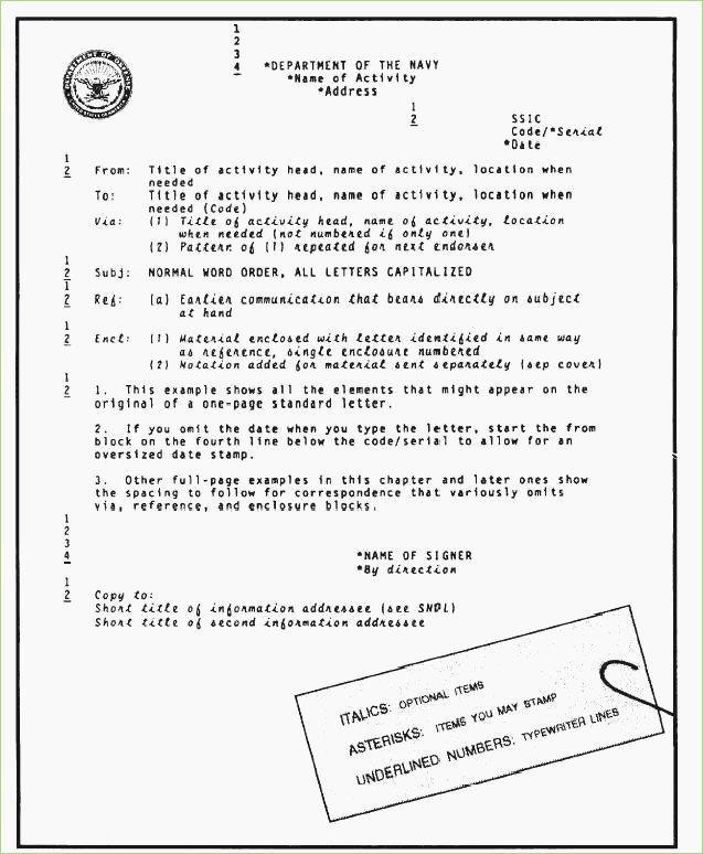 Standard Naval Letter format Template Unique Standard Naval Letter format Template – thepizzashop