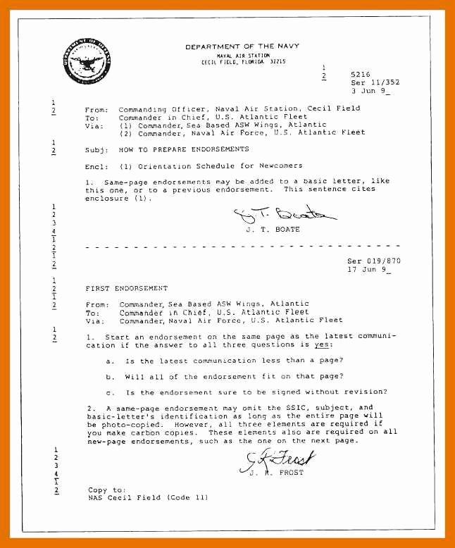Standard Navy Letter Template Fresh 5 6 Naval Letter format