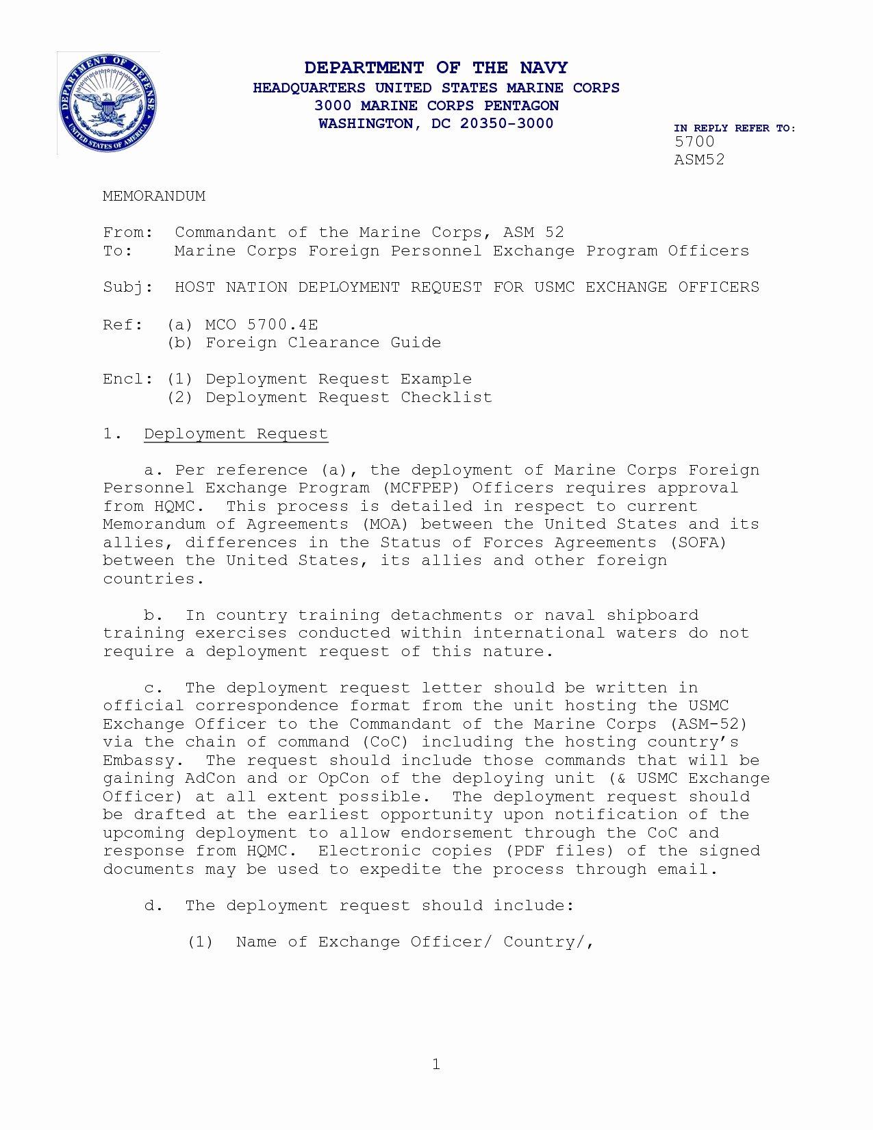 Standard Navy Letter Template Lovely Navy Designation Letter format New Blank Usps Letterhead