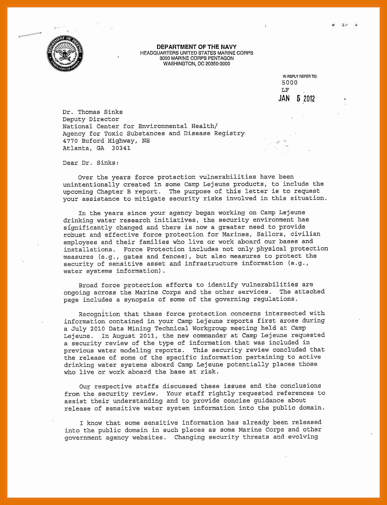 Standard Navy Letter Template New 5 6 Naval Letter format