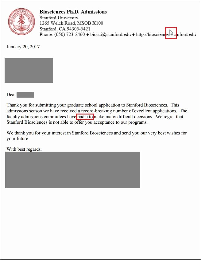 Stanford Letter Of Recommendation Awesome Stanford Acceptance Letter