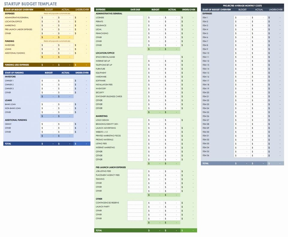 Startup Business Plan Template Excel Lovely Free Startup Plan Bud & Cost Templates