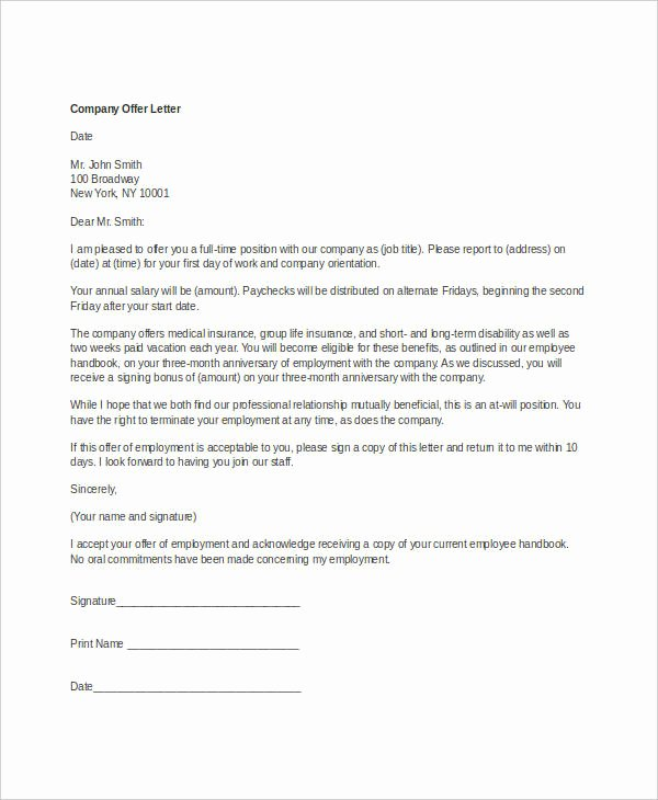 Startup Offer Letter Template Awesome Pany Fer Letter Template 10 Free Word Pdf format
