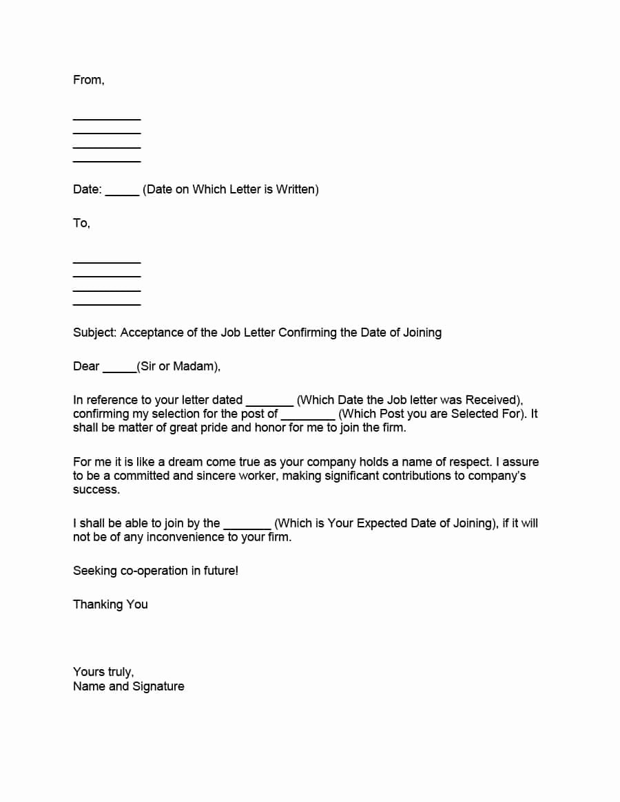 Startup Offer Letter Template Best Of 40 Professional Job Fer Acceptance Letter & Email