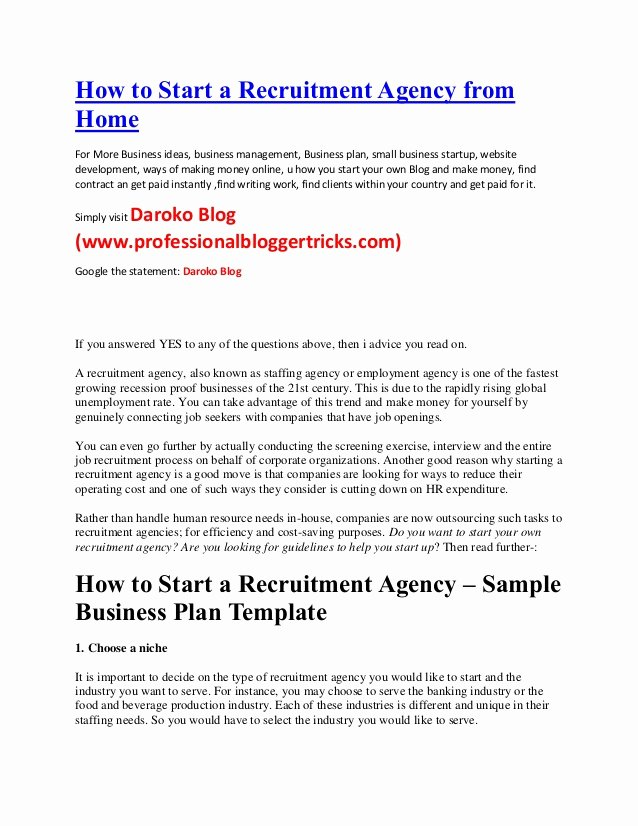 Startup Offer Letter Template Fresh How to Start A Recruitment Agency From Home Business Ideas
