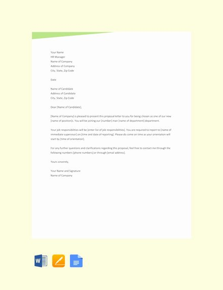 Startup Offer Letter Template Inspirational 33 Proposal Letter Templates Doc Pdf