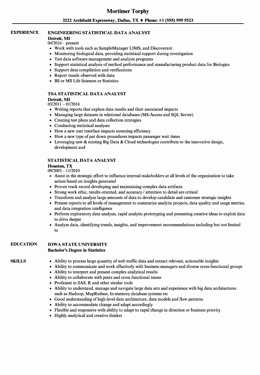 Statistical Analysis Plan Template Inspirational Statistical Data Analyst Resume Samples