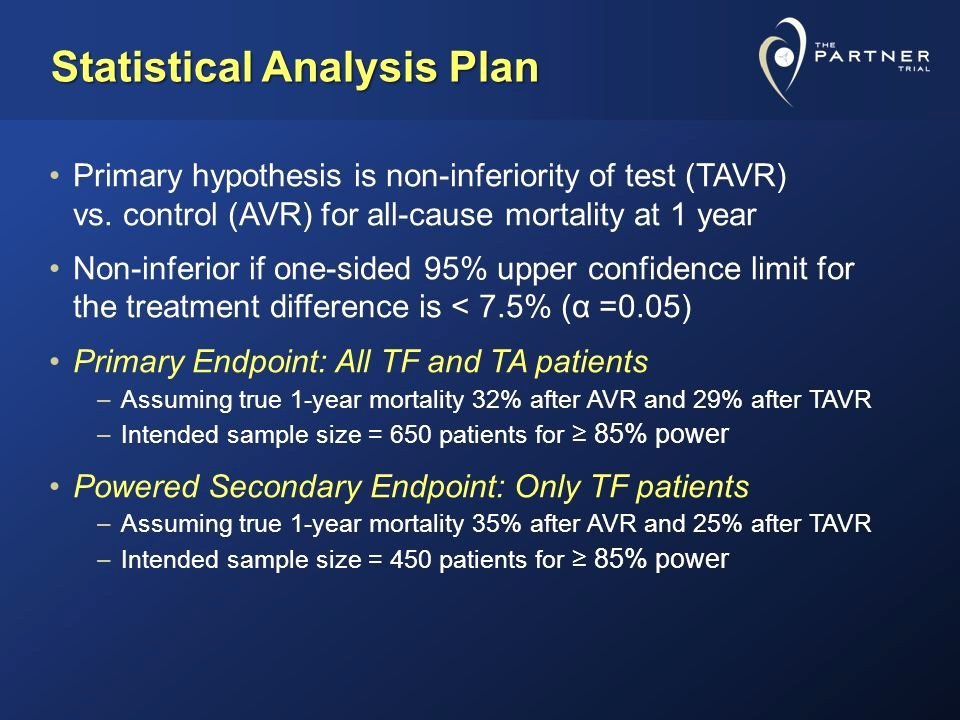 Statistical Analysis Plan Template Unique Craig R Smith Md On Behalf Of the Partner Trial