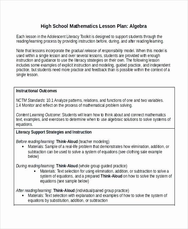 Stem Lesson Plan Template Lovely Lesson Plan Sample for High School – Powertation