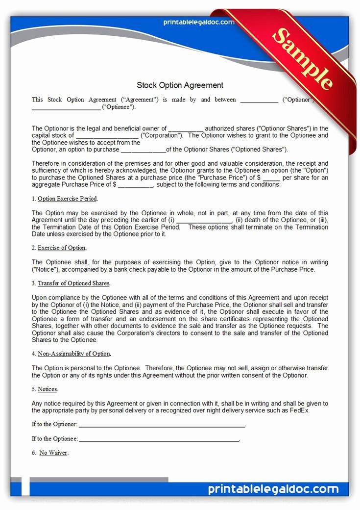 Stock Option Plan Template Elegant Printable Stock Option Agreement Template