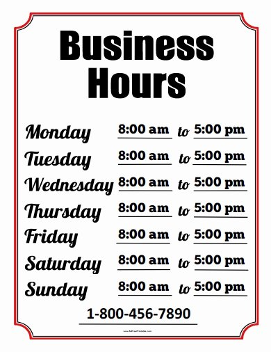 Store Hours Template Word Awesome 6 Best Of Printable Fice Hours Sign Free