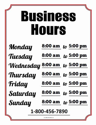 Store Hours Template Word Beautiful Best 25 Business Hours Sign Ideas On Pinterest