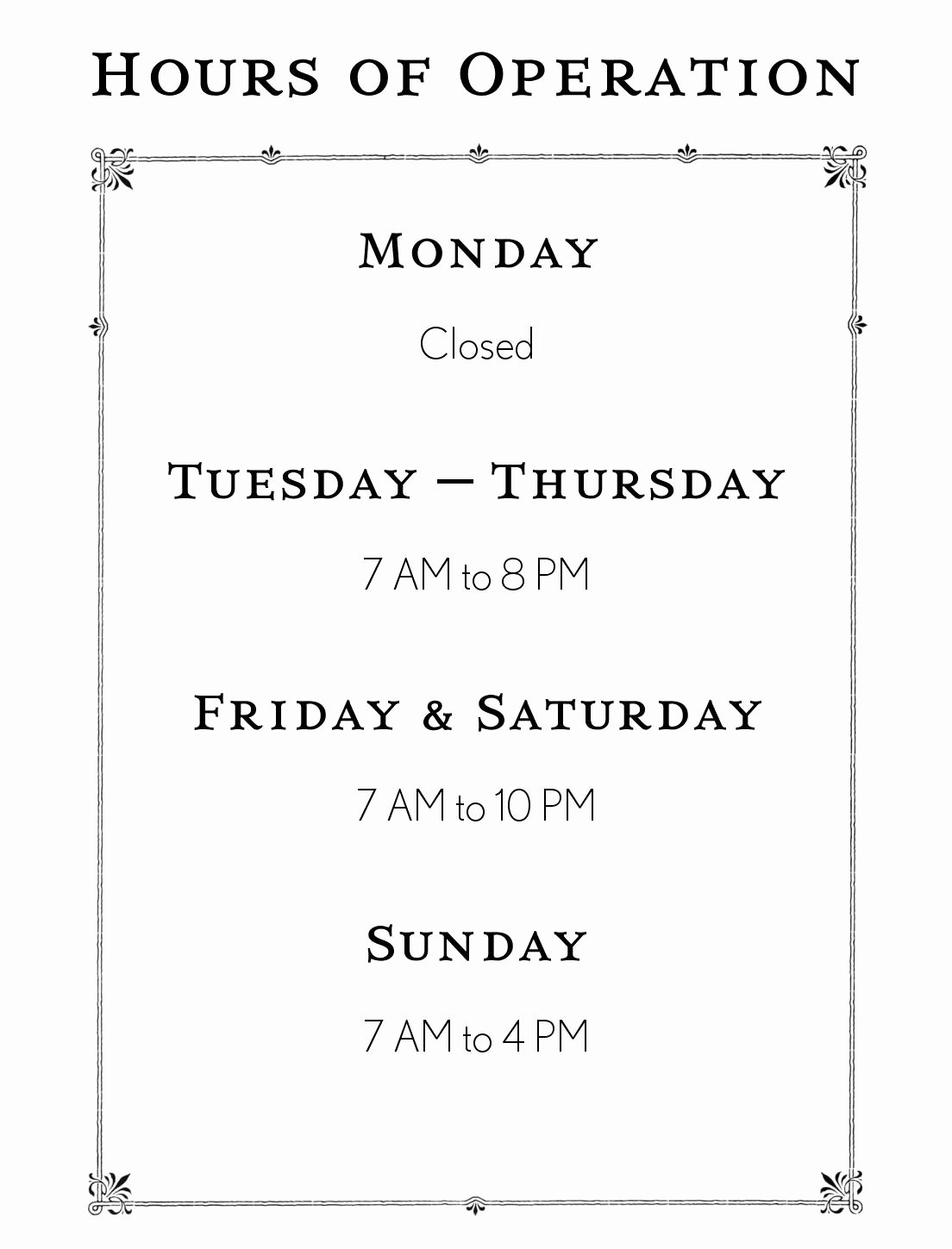 Store Hours Template Word Beautiful Hours Operation Template