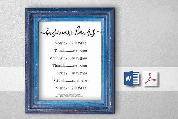 Store Hours Template Word Elegant Business Hours Sign Printable Template Hours Of Operation