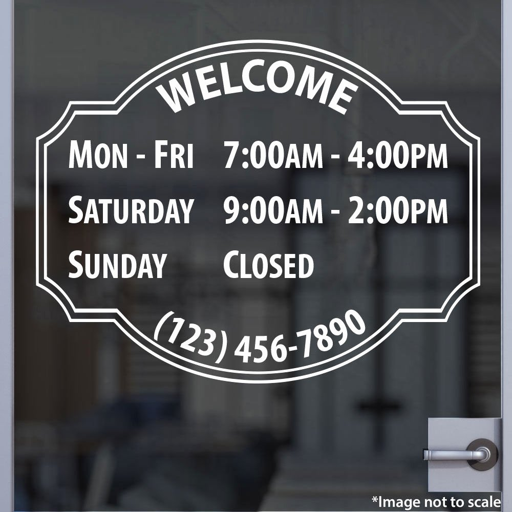 Store Hours Template Word Inspirational Custom Fice Store Business Hours Sticker Vinyl Decal
