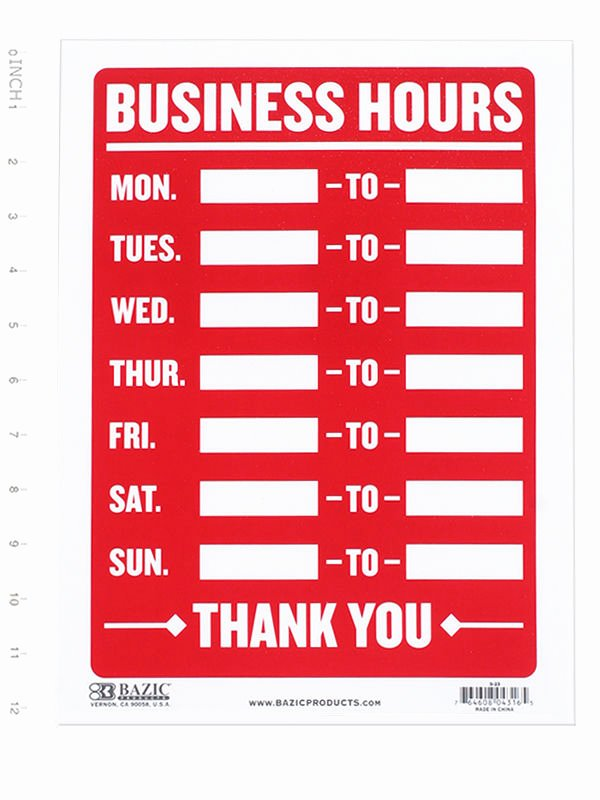 Store Hours Template Word Lovely Business Hours Sign • Open Mon Sun Write In From to Times