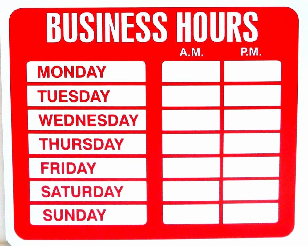 Store Hours Template Word Luxury Business Hours Sign for Shop Store Window with Vinyl Decal