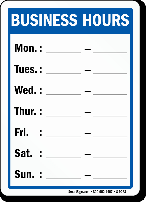 Store Hours Template Word New Business Hours Signs