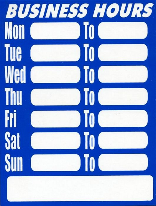 Store Hours Template Word Unique Business Hours Plastic Sign