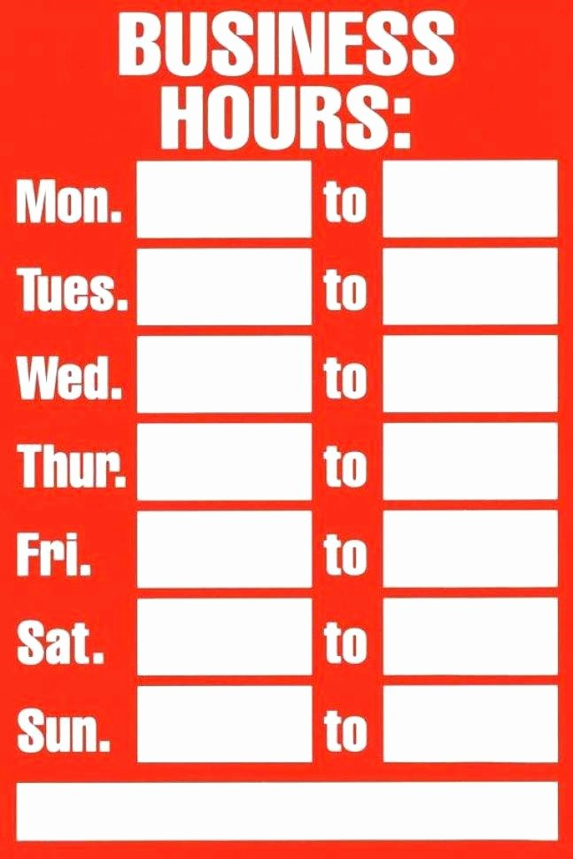 Store Hours Template Word Unique Printable Fice Hours Sign