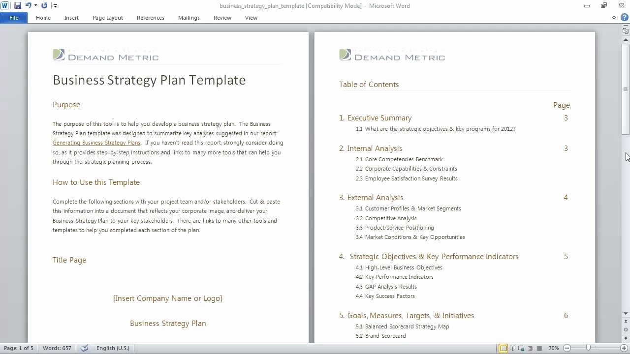 Strategic Business Plan Template Luxury Business Strategy Plan Template
