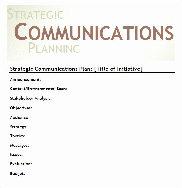 Strategic Communications Plan Template Best Of 16 Samples Of Munication Plan Templates Pdf Word