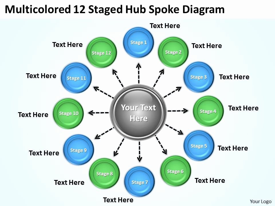 Strategic Plan Ppt Template New Strategic Plan 12 Staged Hub Spoke Diagram Powerpoint