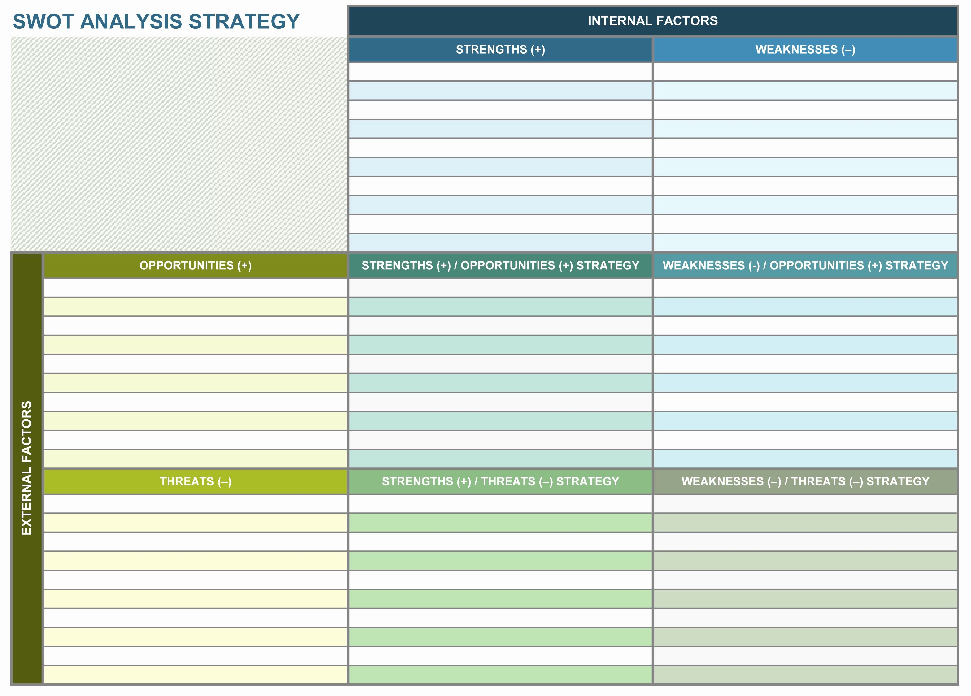 Strategic Plan Template Excel Fresh Swot Analysis Strategy Excel Template