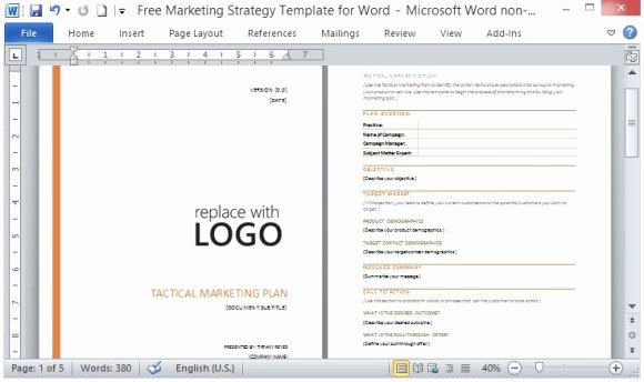 Strategic Plan Template Word New Free Marketing Strategy Template for Word