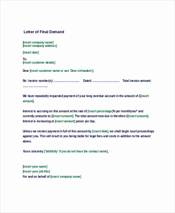 Strong Demand Letter for Payment Elegant Sample Demand Letter 7 Documents In Pdf Word