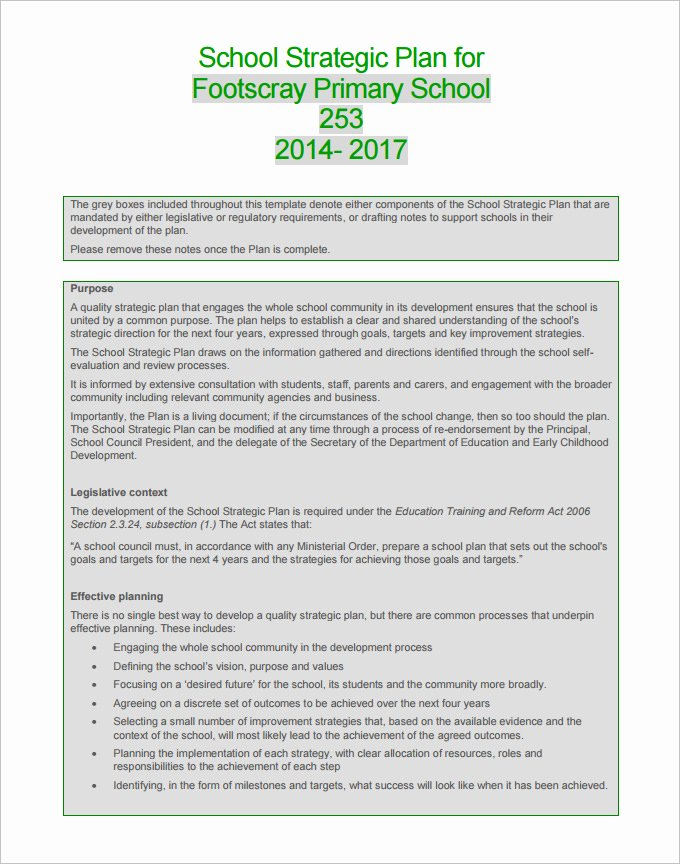 Student Education Plan Template Awesome Educational Strategic Planning Template