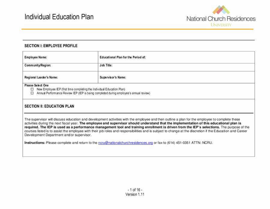 Student Education Plan Template Beautiful 2019 Individual Education Plan Fillable Printable Pdf