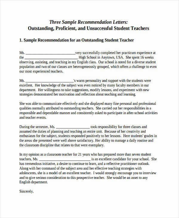 Student Recommendation Letter From Teacher Awesome 89 Re Mendation Letter Examples & Samples Doc Pdf