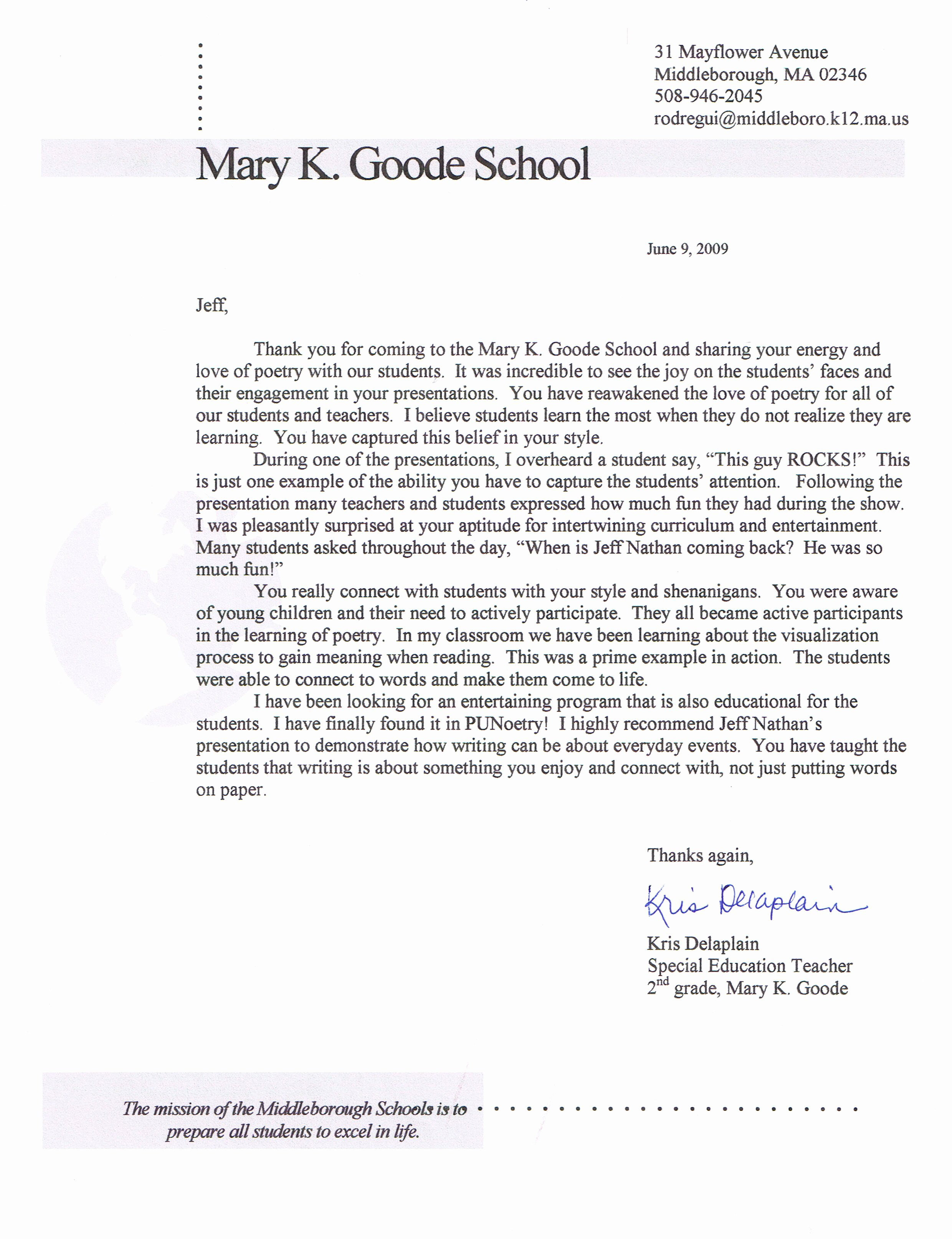 Student Recommendation Letter From Teacher Elegant Student Re Mendation Letter From Teacher