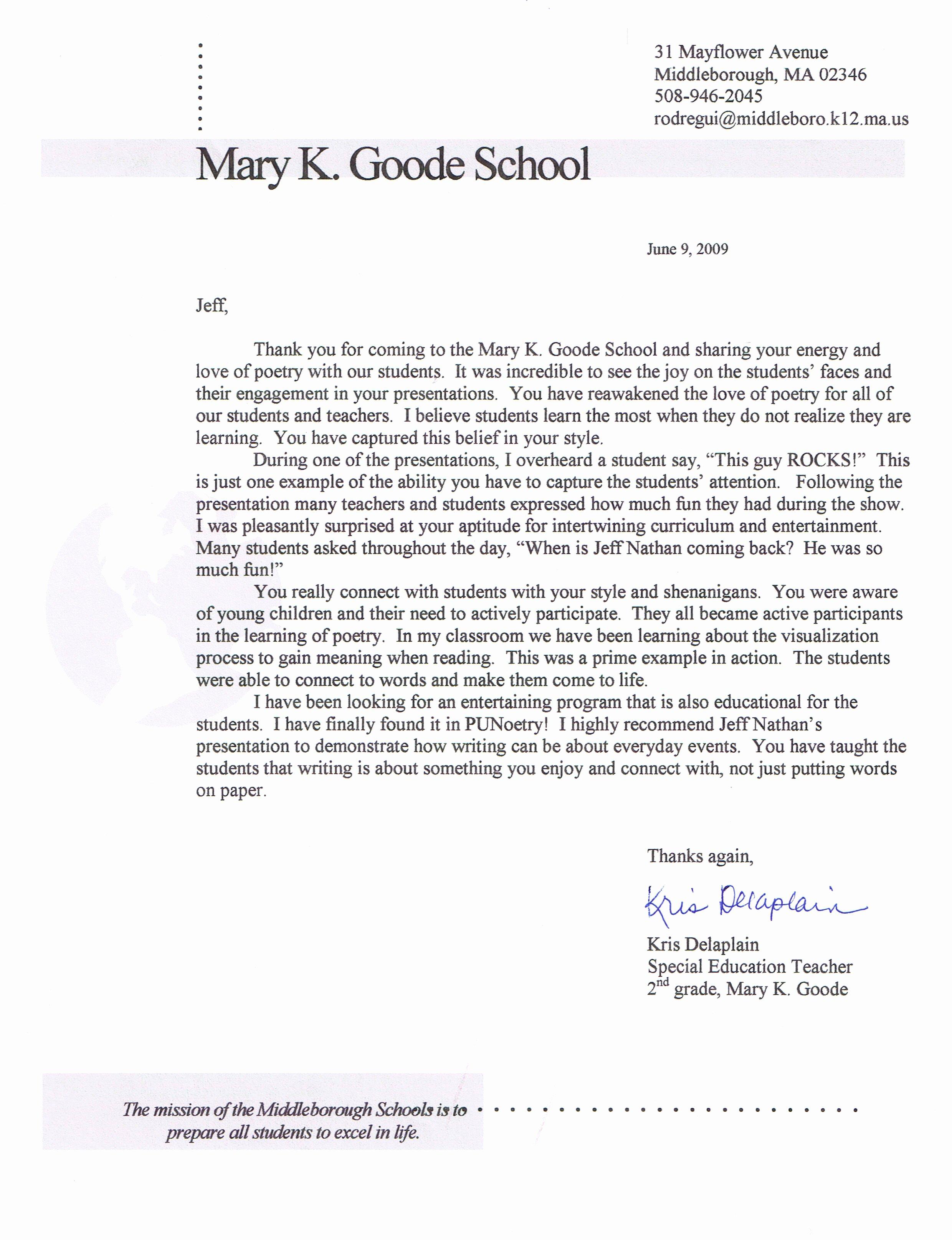 Student Recommendation Letter From Teacher Elegant Student Re Mendation Letter From Teacher