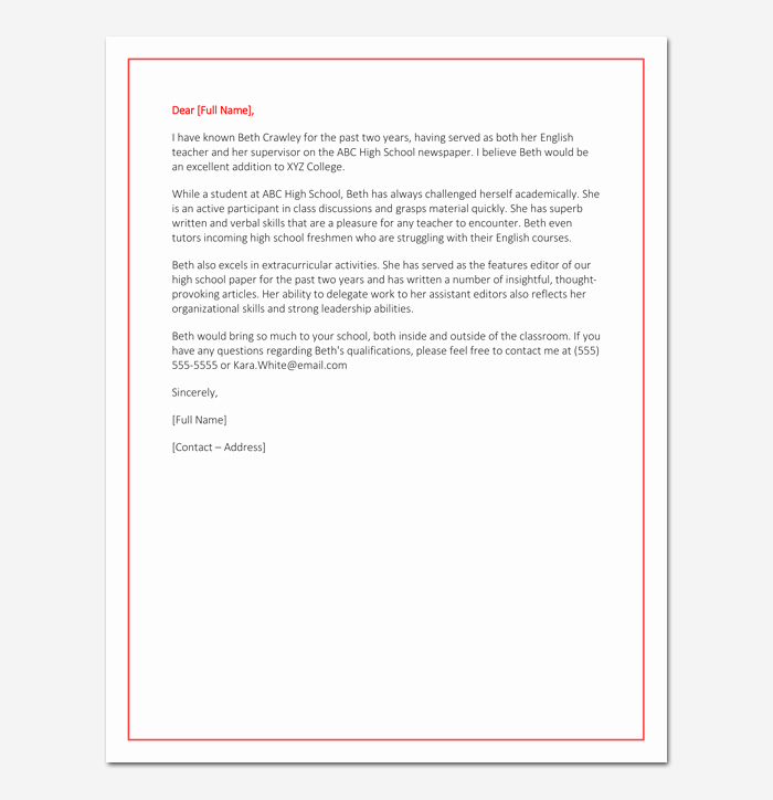 Student Recommendation Letter From Teacher Lovely Letter Of Re Mendation for Primary School Student