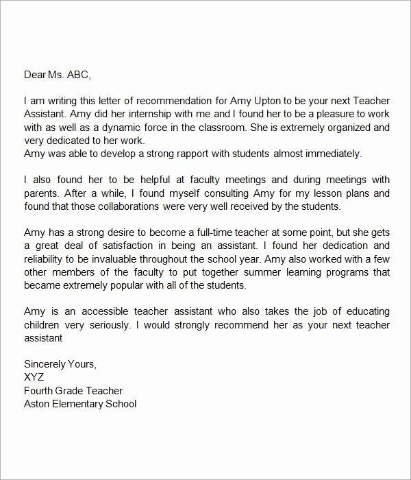 Student Recommendation Letter From Teacher Lovely Re Mendation Letter for Teacher assistant