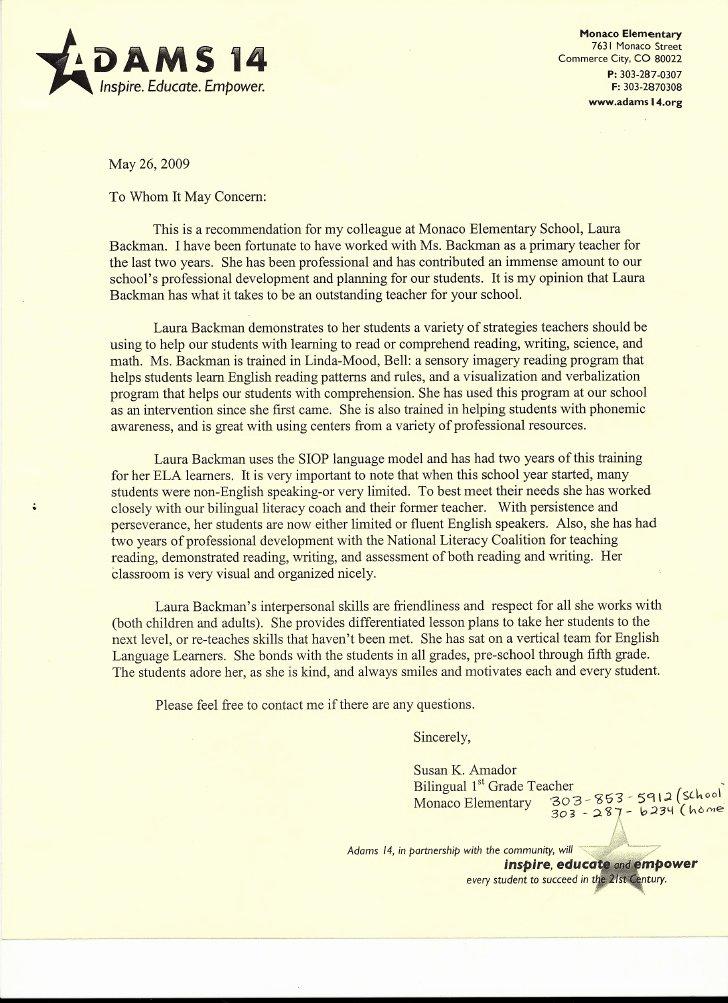 Student Recommendation Letter From Teacher Luxury Letter Of Re Mendation From Elementary School Teacher