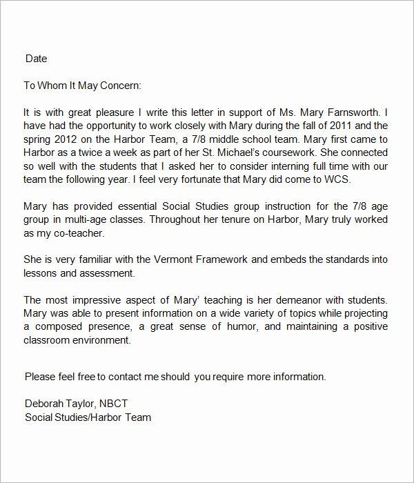 Student Recommendation Letter From Teacher New 19 Letter Of Re Mendation for Teacher Samples Pdf Doc