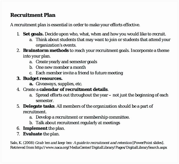 Student Recruitment Plan Template Luxury Recruitment Plan Template Sample Recruitment Plan Action