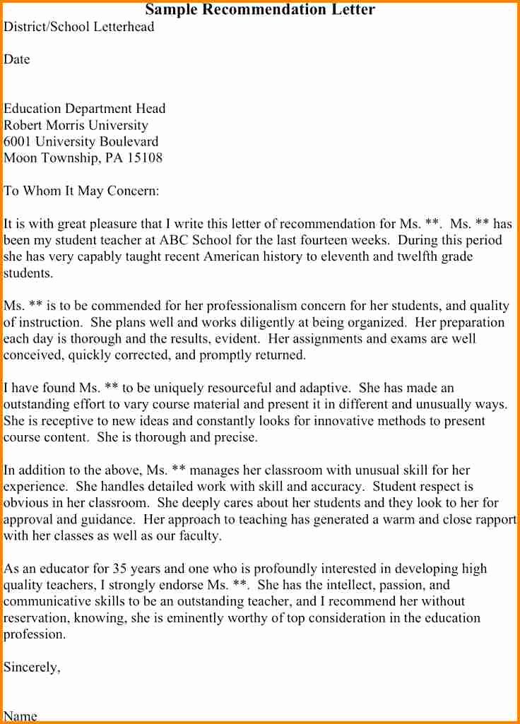 Student Teacher Letter Of Recommendation Elegant 5 Sample Reference Letter for Student From Teacher