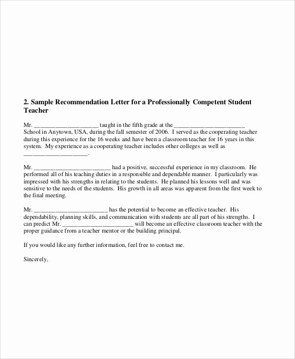 Student Teacher Letter Of Recommendation Luxury 8 Sample Teacher Re Mendation Letters