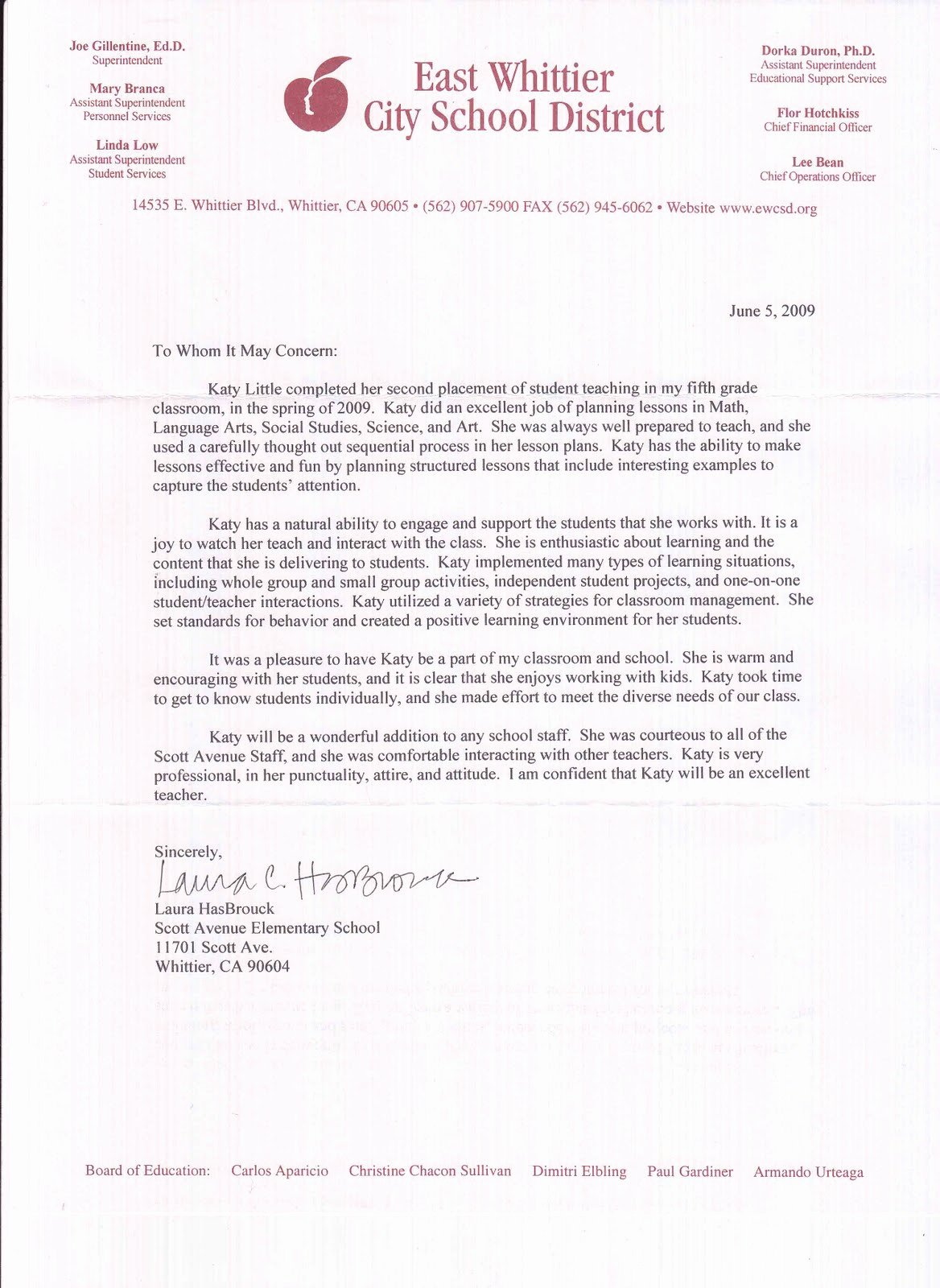 Student Teacher Letter Of Recommendation New Kathryn Little Letters Of Re Mendation Student Teaching